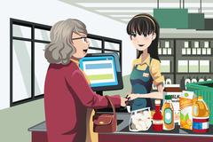 Grocery shopping Stock Illustration