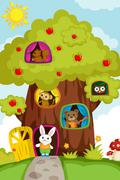 Animals in a treehouse - stock illustration