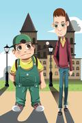 Two boys - stock illustration