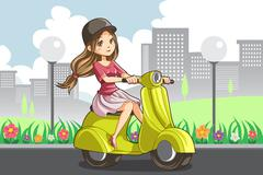 Stock Illustration of Girl riding scooter