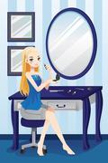 Stock Illustration of Beautiful girl applying makeup