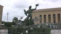 Statue of Poseidon in Gothenburg Stock Footage