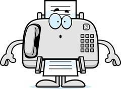 Surprised Cartoon Fax Machine - stock illustration