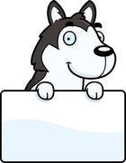 Cartoon Husky Sign - stock illustration