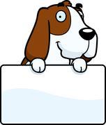Cartoon Basset Hound Sign - stock illustration