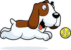 Cartoon Basset Hound Chasing Ball - stock illustration