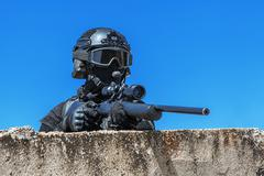 Police sniper in action - stock photo