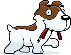 Stock Illustration of Cartoon Jack Russell Terrier Leash