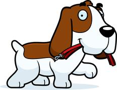 Cartoon Basset Hound Leash - stock illustration