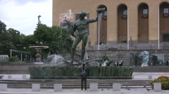 Statue of Poseidon with fountain in central Gothenburg Stock Footage