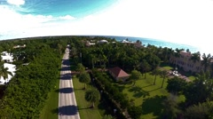 Gulf shore aerial- Pass over thick trees near beach Stock Footage