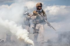 Navy SEALs in action - stock photo