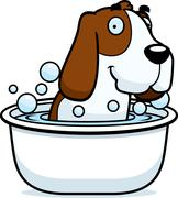 Cartoon Basset Hound Bath - stock illustration