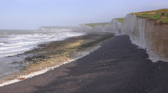 The White Cliffs of Dover near Beachy Head in Southern England. - stock footage