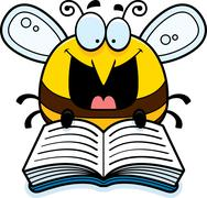Cartoon Bee Reading - stock illustration