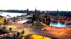 Roundabout and water lock Slussen in Stockholm, Sweden Stock Footage