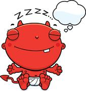 Stock Illustration of Cartoon Baby Devil Dreaming