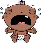 Cartoon Baby Girl Crying - stock illustration