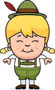 Smiling Cartoon Lederhosen Girl - stock illustration