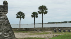 Stock Video Footage of Oldest Masonry Fort Castillo de San Marcos Next to Bay and Cannons