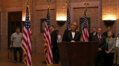 Secretary of State Hillary Clinton Gives Speech at Embassy, Dhaka - stock footage
