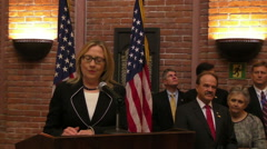 Secretary of State Hillary Clinton Gives Speech at Embassy, Dhaka Stock Footage