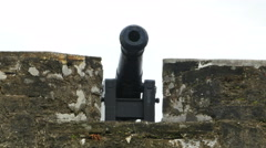 Stock Video Footage of Cannon on Oldest Masonry Fort Castillo de San Marcos and Walls in St. Augustine