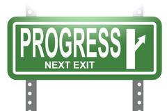 Progress green sign board isolated - stock illustration