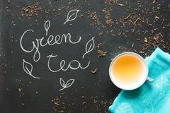 Green tea bancha - macrobiotic drink for natural food and healthy - stock photo