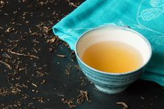 Green tea bancha - stock photo