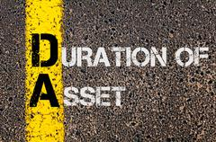 Business Acronym DA as DURATION OF ASSET Stock Illustration