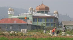 Workers in field with mosque background,Dieng,Java,Indonesia Stock Footage