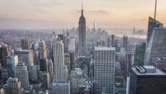 Aerial view of Manhattan skyline. Zoom in. Sunset. Vintage. Time lapse. Stock Footage