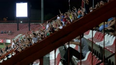 Fans on the stadium stands, reaction of local fans on the goal and celebrations. Stock Footage