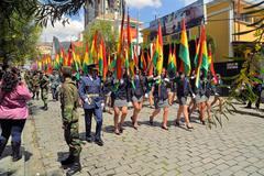 Soldiers march in Military parade for dia del mar, La Paz, Bolivia Stock Photos