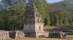Ancient hindu temple,Gedung Songo,Java,Indonesia - stock footage
