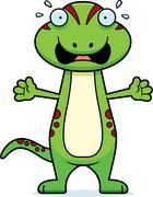 Scared Cartoon Gecko - stock illustration