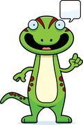 Cartoon Gecko Talking - stock illustration