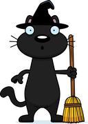 Surprised Cartoon Black Cat Witch Piirros