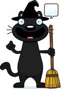 Cartoon Black Cat Witch Talking Piirros