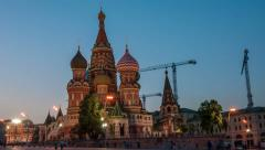 Saint Basil Cathedral at night Stock Footage