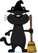 Sly Cartoon Black Cat Witch Stock Illustration