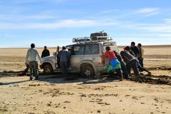 Tourist jeep gets stuck in Southwestern Bolivia near Uyuni Stock Photos