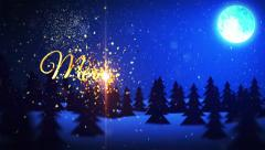 Merry Christmas and Happy New Year Snow with Moon Stock Footage