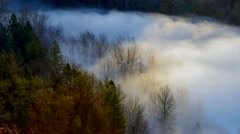Time Lapse of Rolling Fog Over Crooked River from Jonsrud in Sandy Oregon Stock Footage