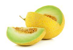Cantaloupe melon isolated on the white background Stock Photos