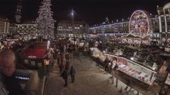 Striezelmarkt Dresden Christmas Market Timelapse Germany 03 Stock Footage