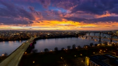 UHD 4k Time Lapse of Sunrise and Traffic Light Trails Over  Oregon 4096x2304 - stock footage