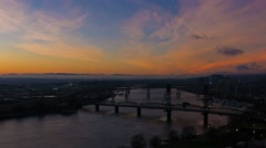 UHD 4k Time Lapse of Sunrise and Traffic Over City of Portland OR with Bridges Stock Footage