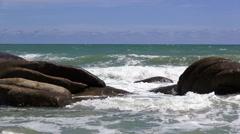 HD Format : Tropical sand beach against the blue sky. Stock Footage